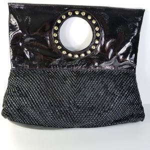 Black Vegan Patent Leather Clutch, Gold Tone